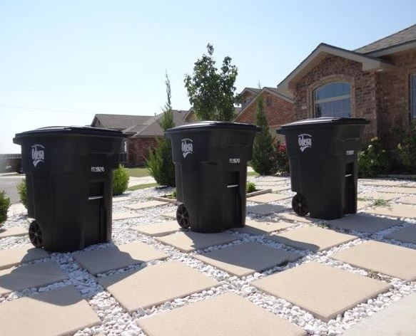 Three Black Curbside Containers